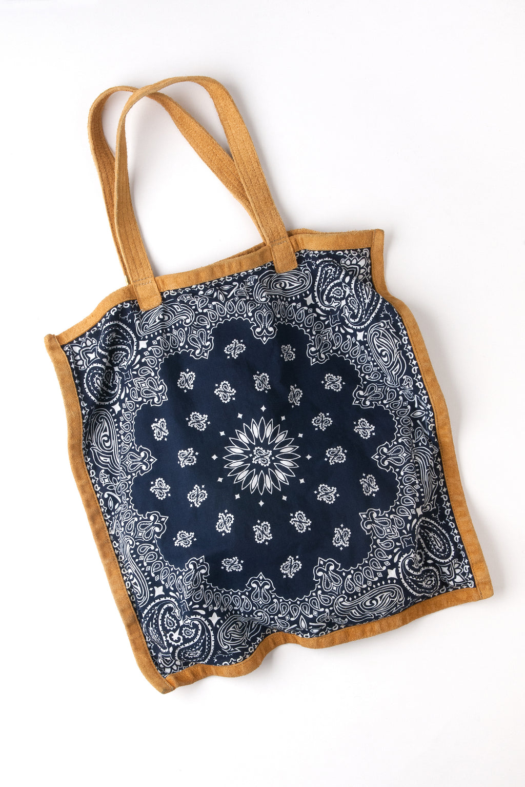 BANDANA TOTE IN NAVY WITH LEATHER