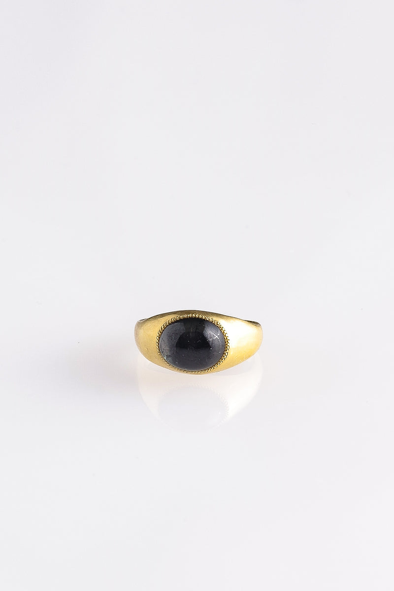 BLACK TOURMALINE ROZ RING IN GOLD