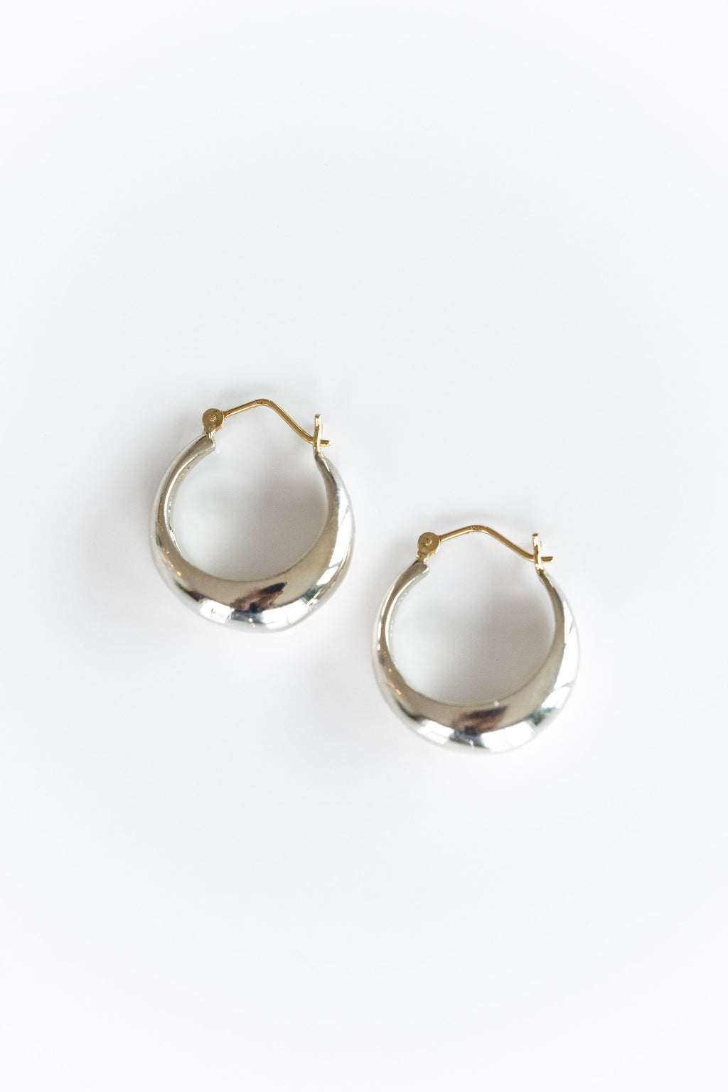 14K + SS DOME HOOPS