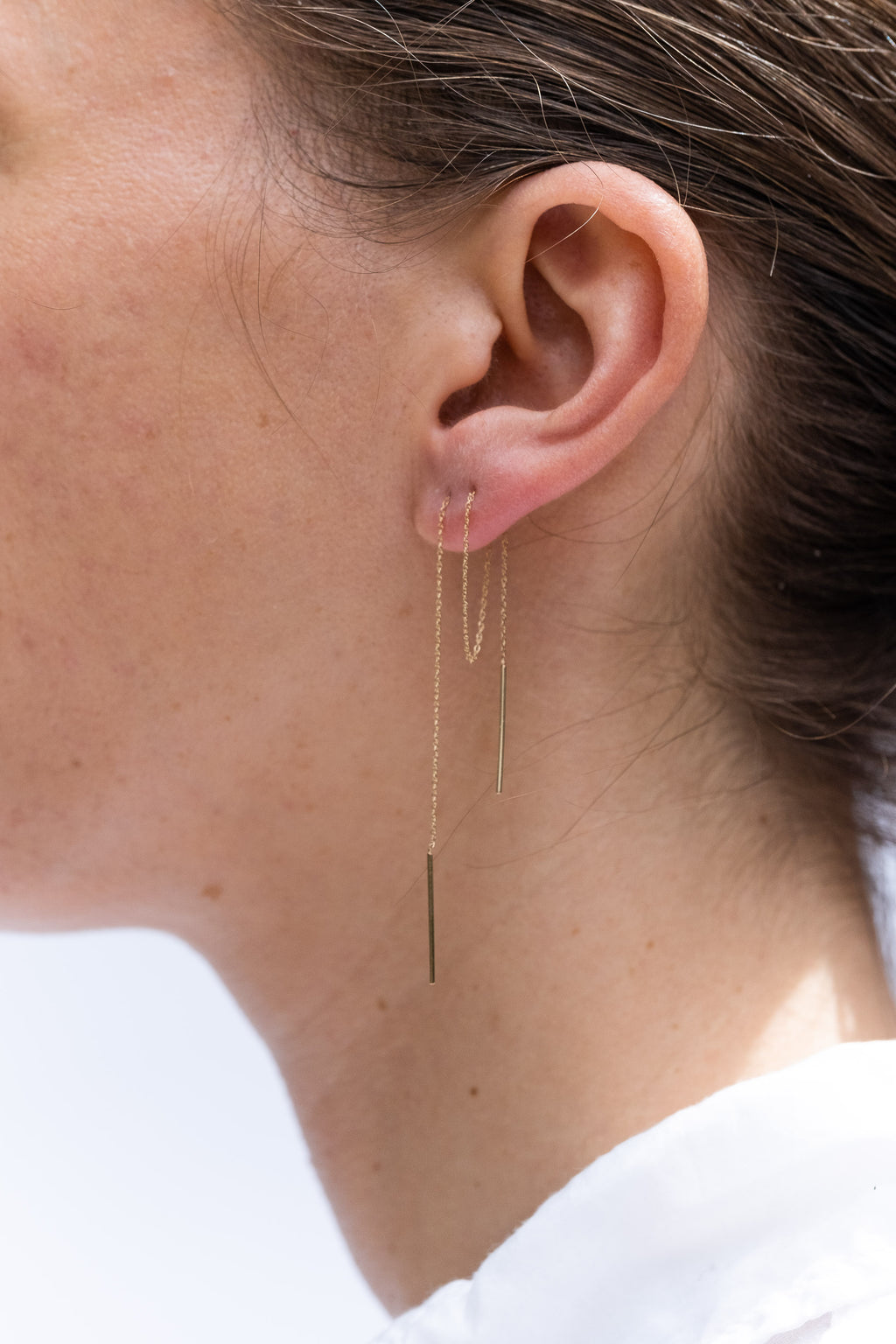 14K EXTRA LONG STITCH EARRING