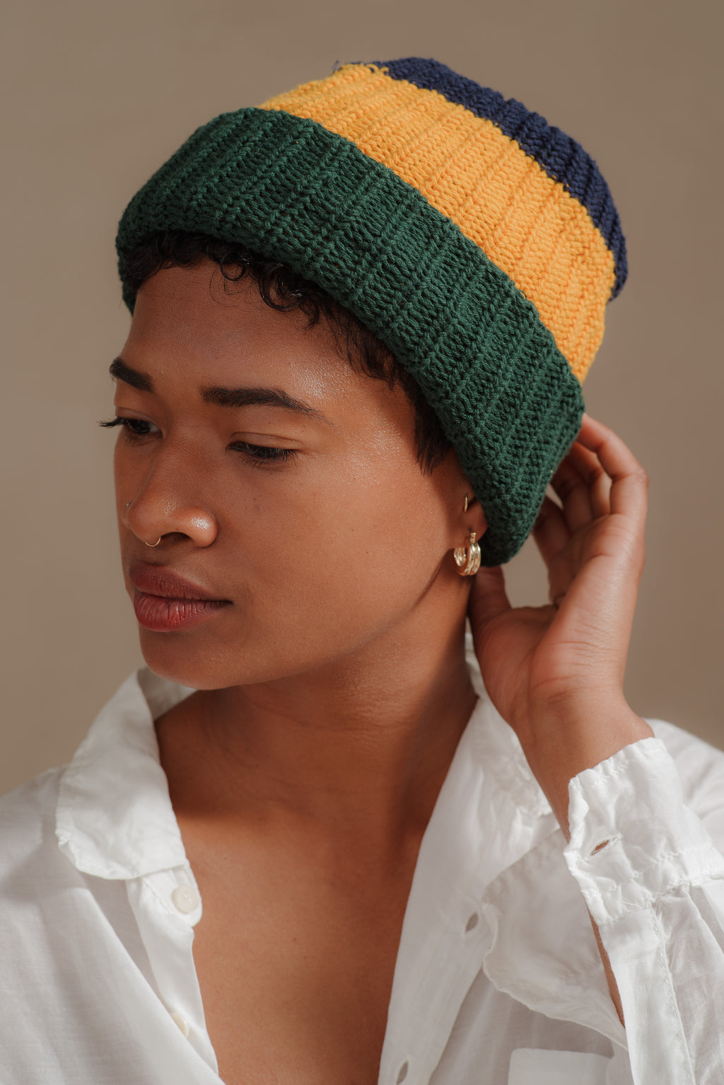 Reliquary | NAVY + GOLD + EVERGREEN KNIT HAT