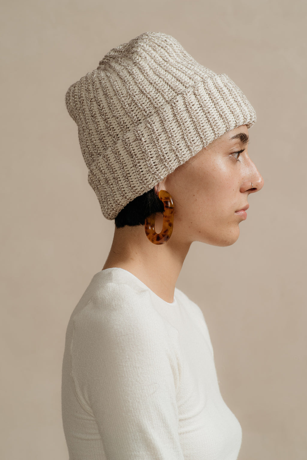Columbia Knit | COTTON KNIT BEANIE IN COFFEE MARL