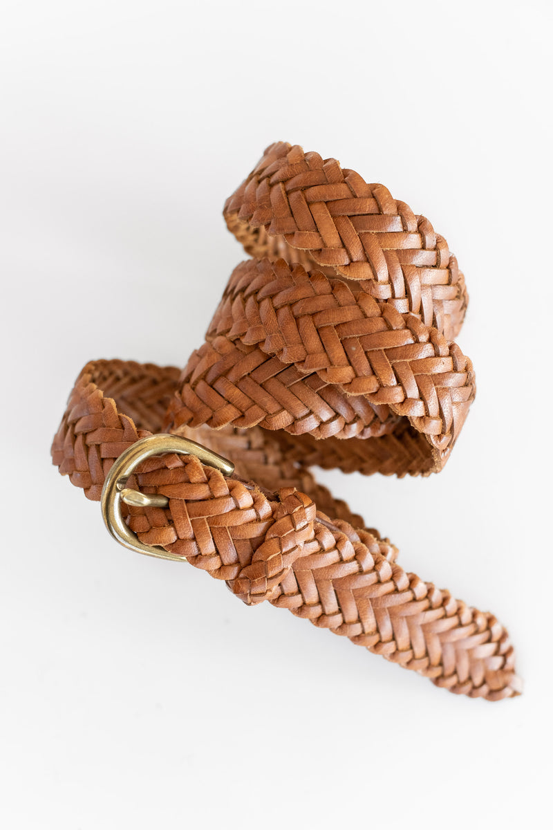 HANDWOVEN SINGLE LINK BELT IN TAN