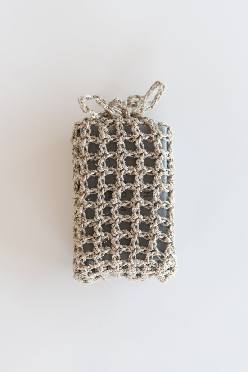 CROCHETED NATURAL HEMP SOAP BAG