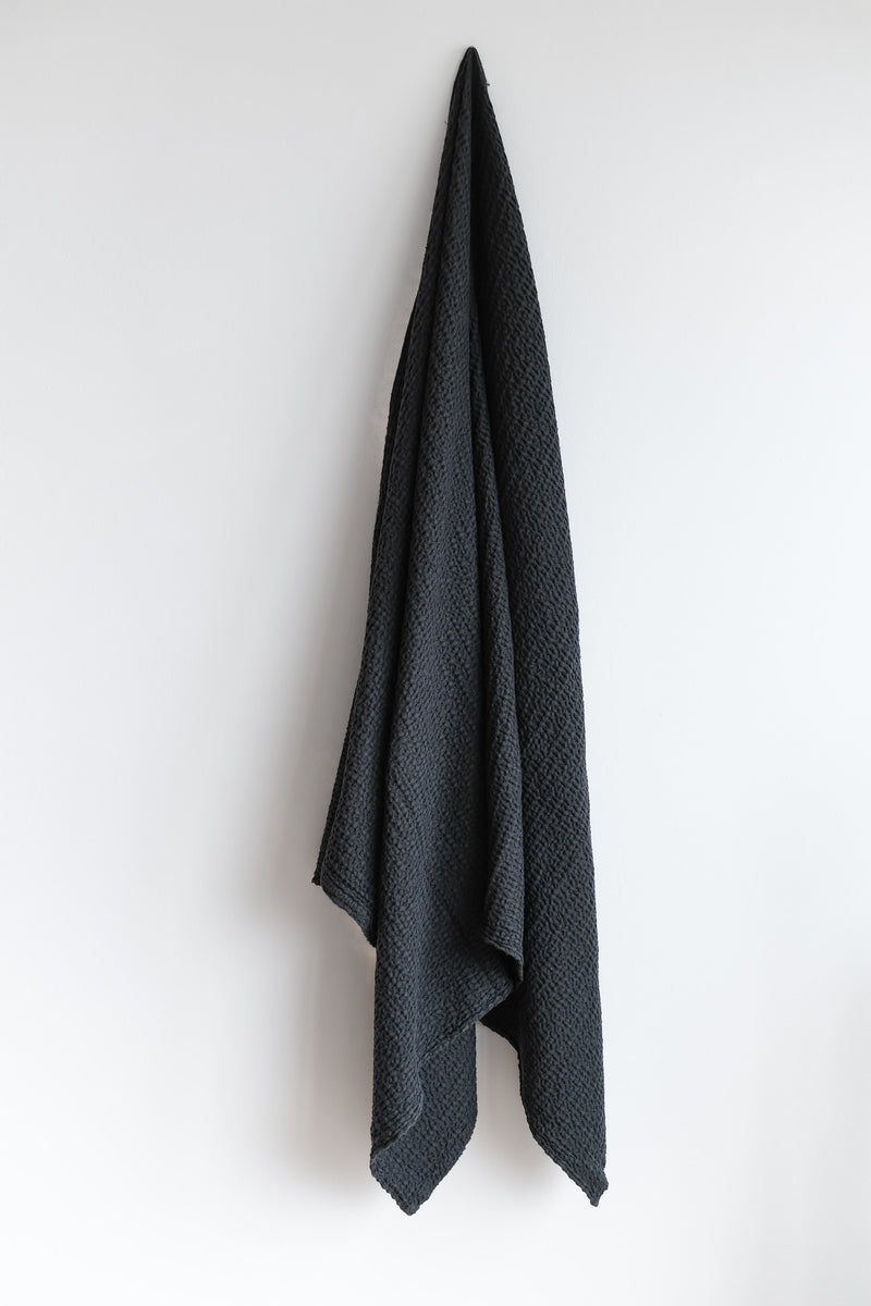 SIMPLE WAFFLE TOWELS IN BLACK
