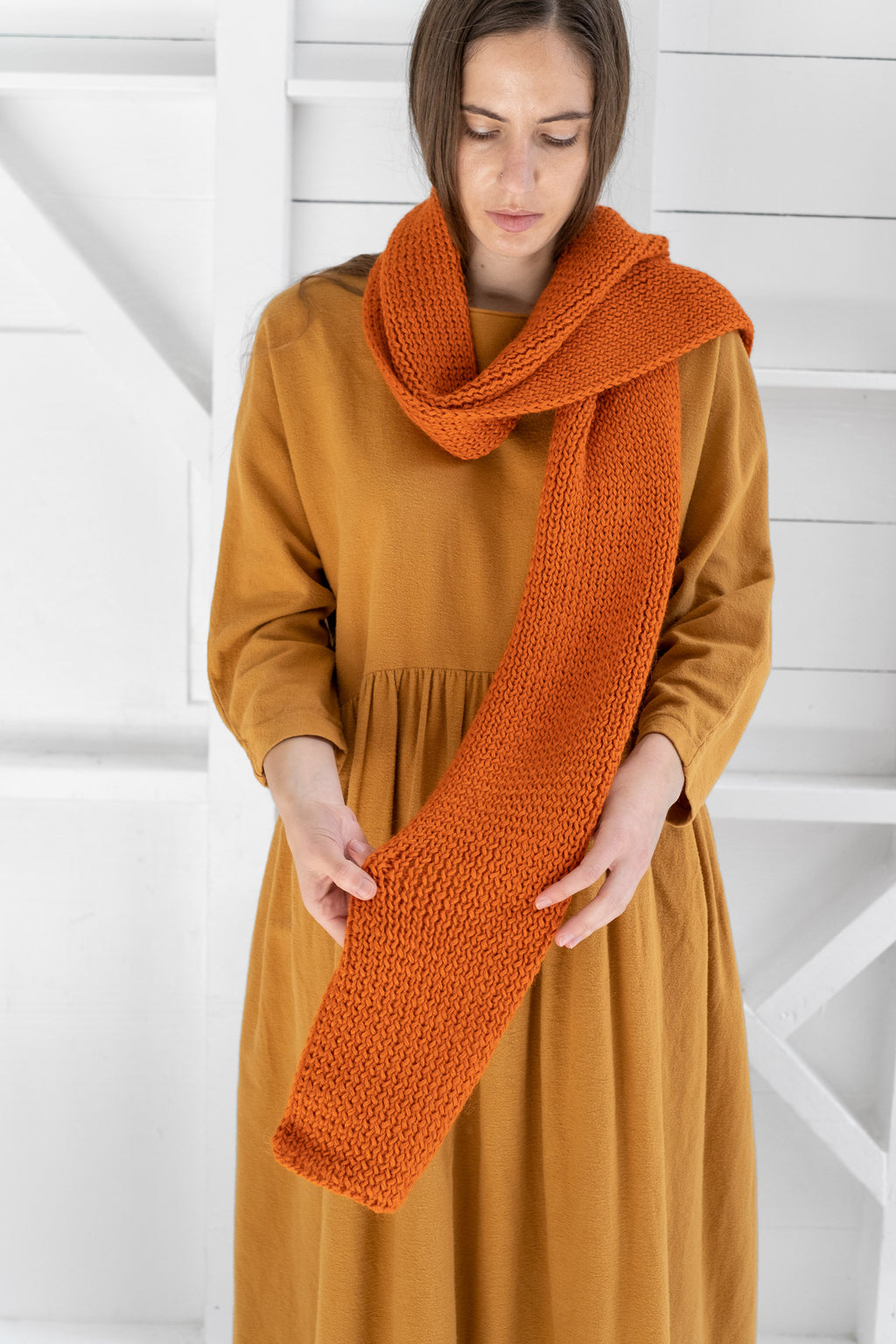 BABY ALPACA SCARF IN ORANGE