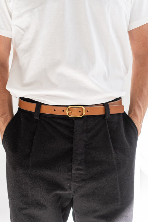 "1"" OVAL BUCKLE BELT IN TAN"