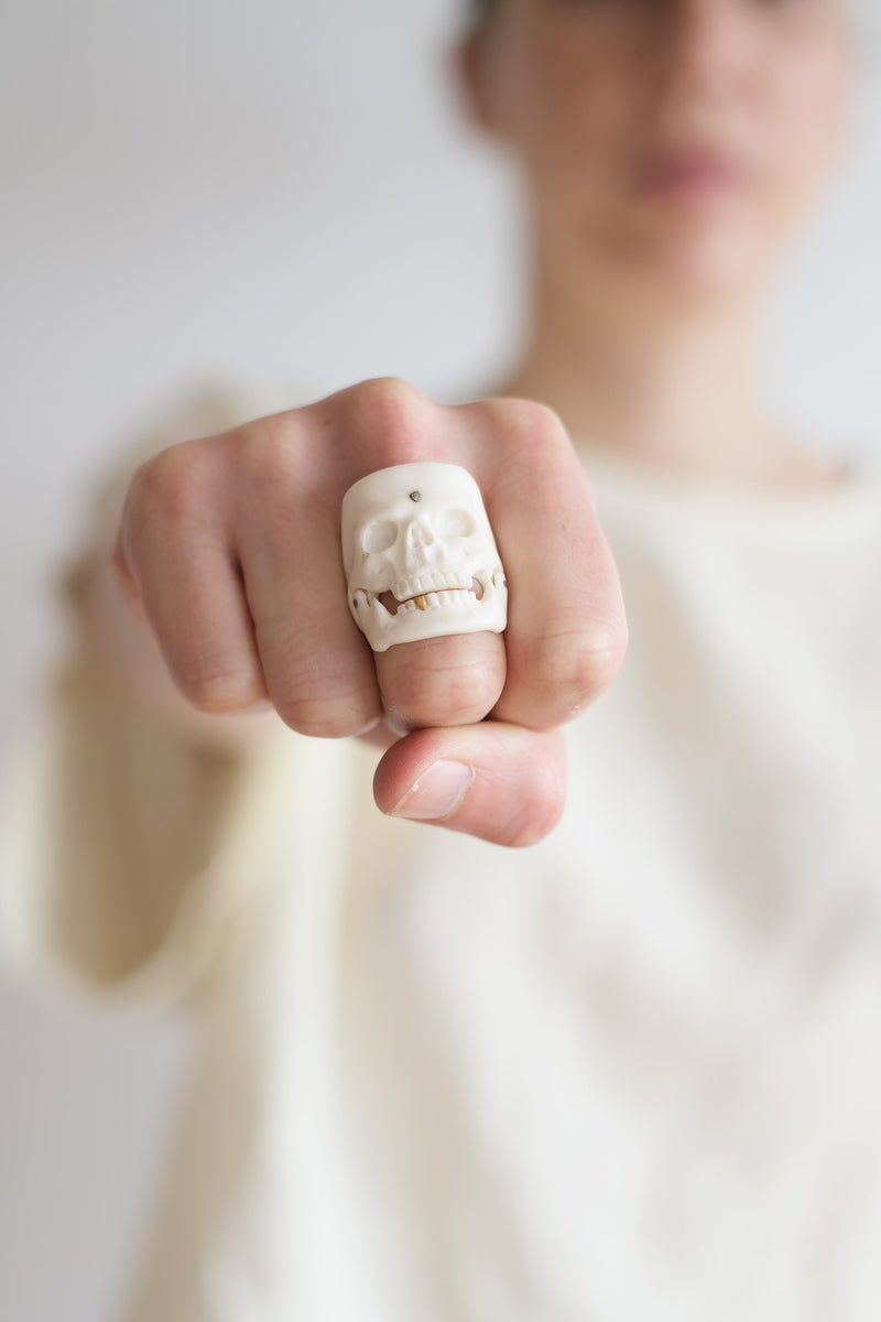 22K AND YAK BONE SKULL RING