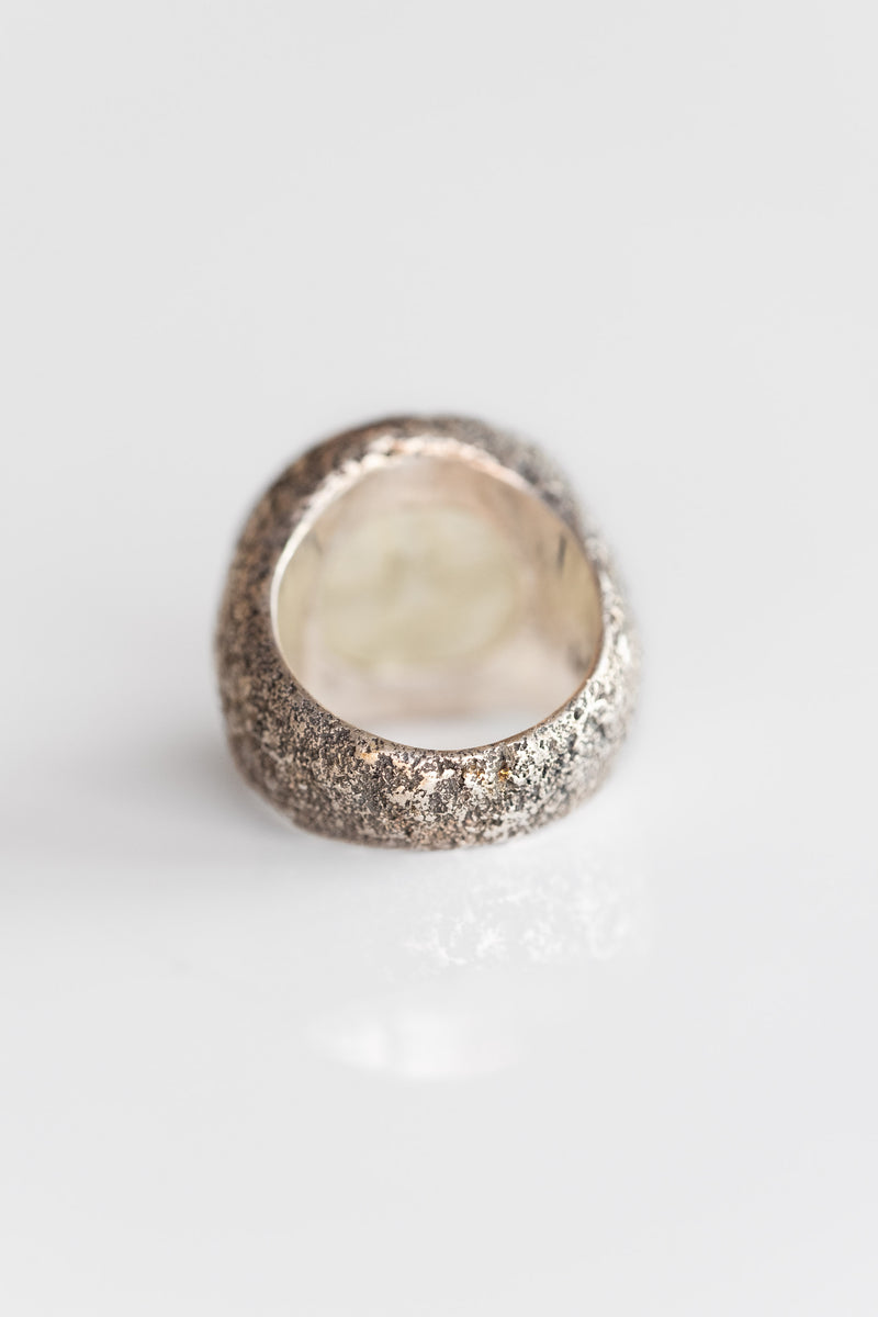 STERLING GLASS MOON FACE RING