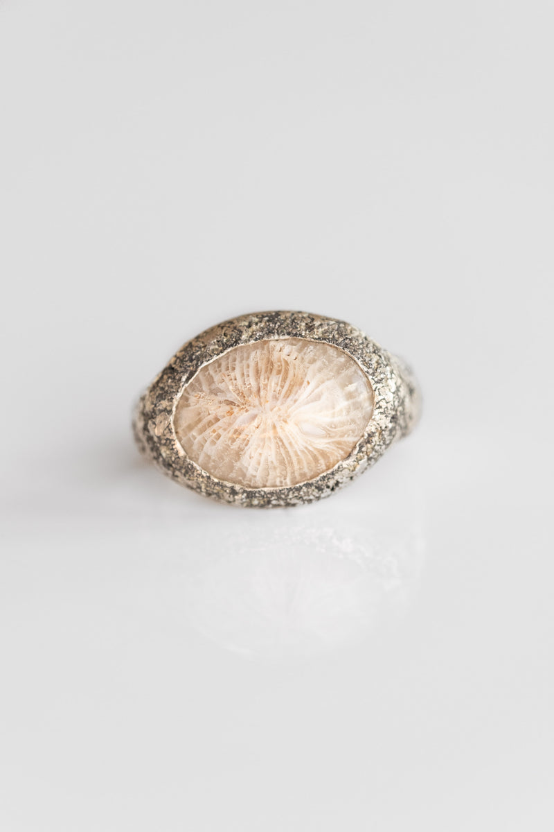 STERLING FOSSILIZED CORAL RING