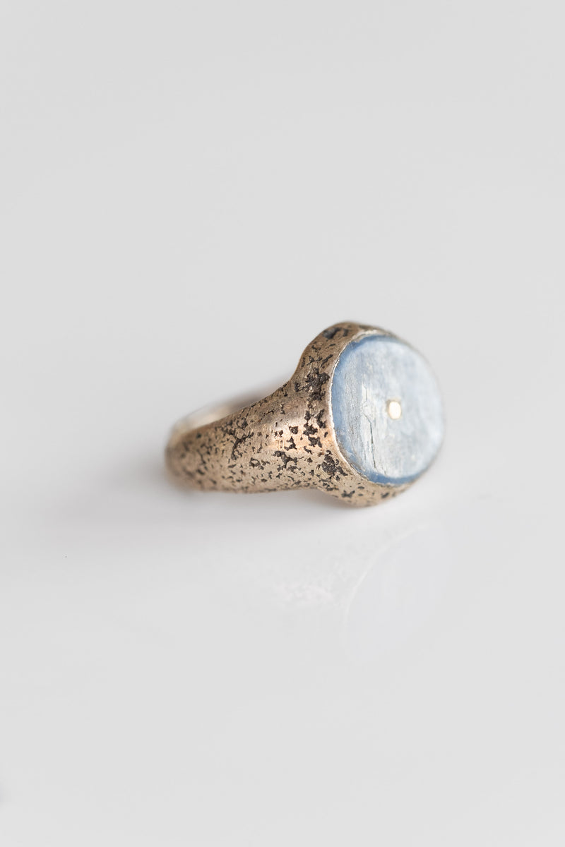 STERLING KYANITE RING WITH GOLD PIN