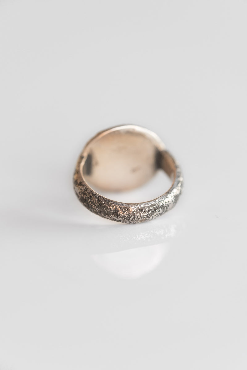 STERLING CARVED BONE FACE RING