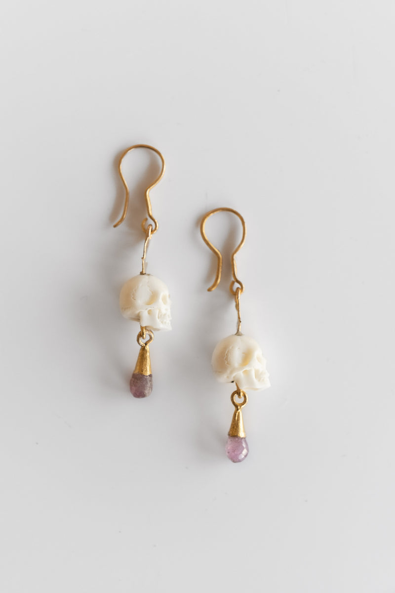 22K YAK BONE SKULL AND RUBY EARRINGS