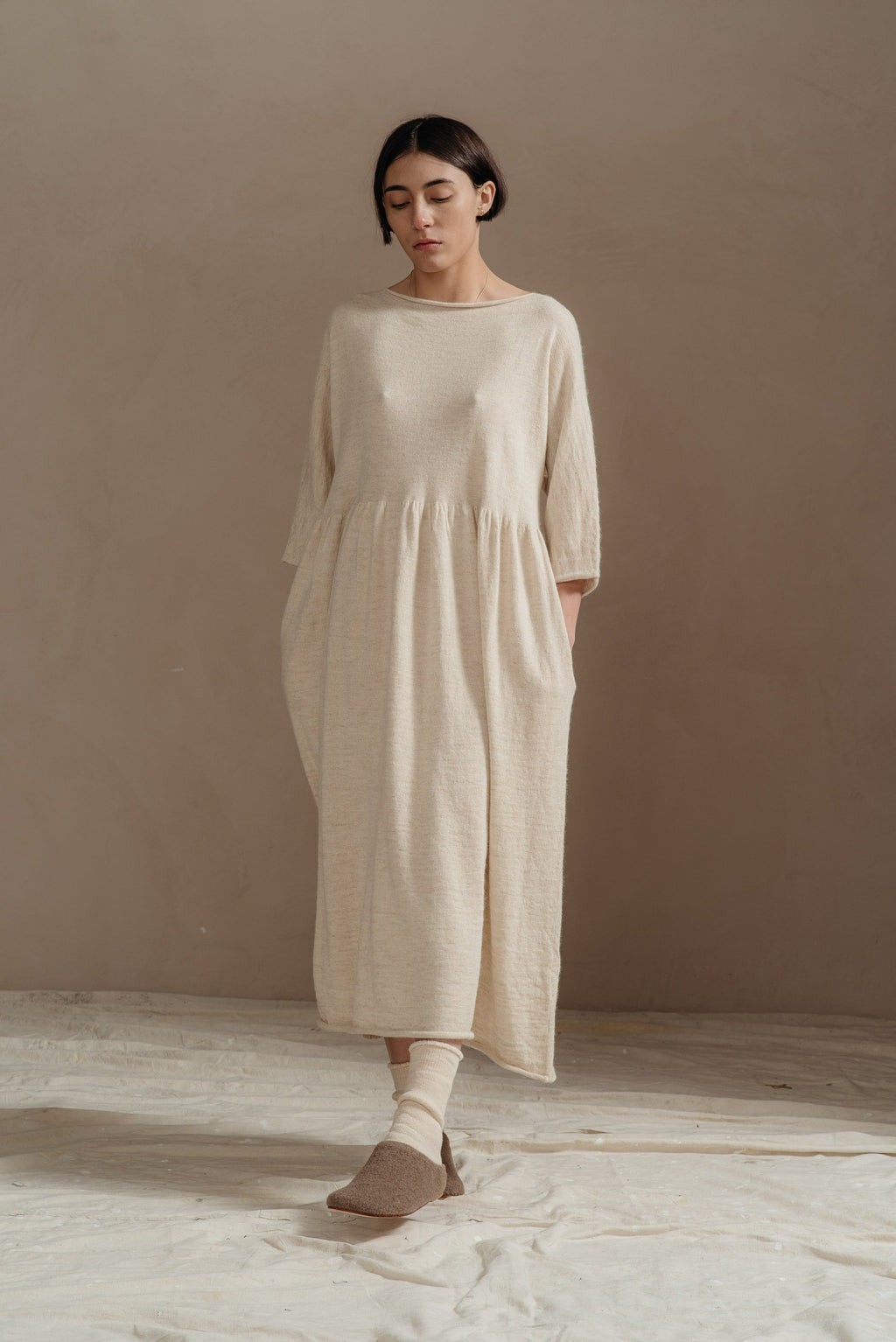 Lauren Manoogian | IVORY LONG SLEEVE TIER DRESS