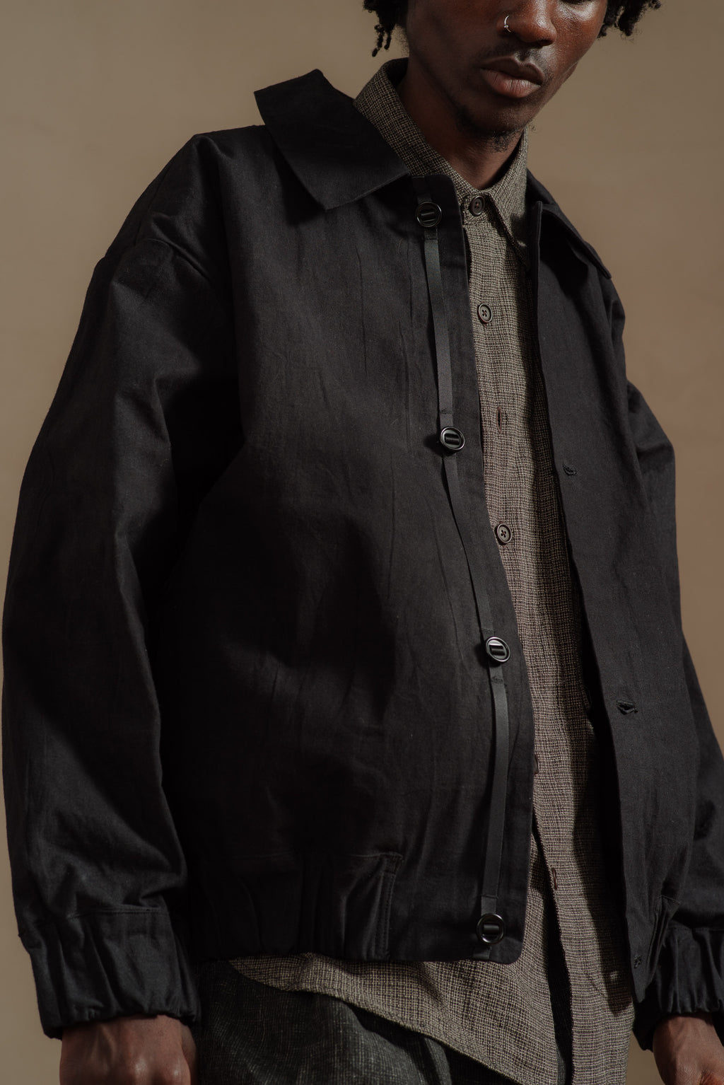 MANTLE-WAXED-BLACK-BLOUSON-SHIRT