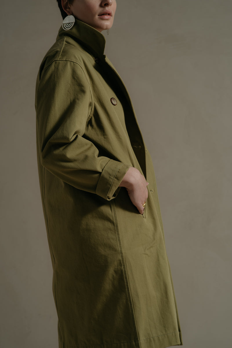 TAN GREEN  TRENCH
