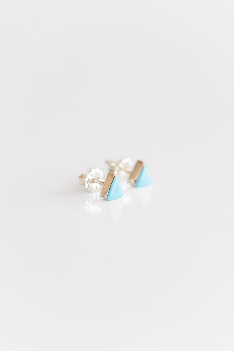 ZUNI SMALL TURQUOISE TRIANGLE STUDS