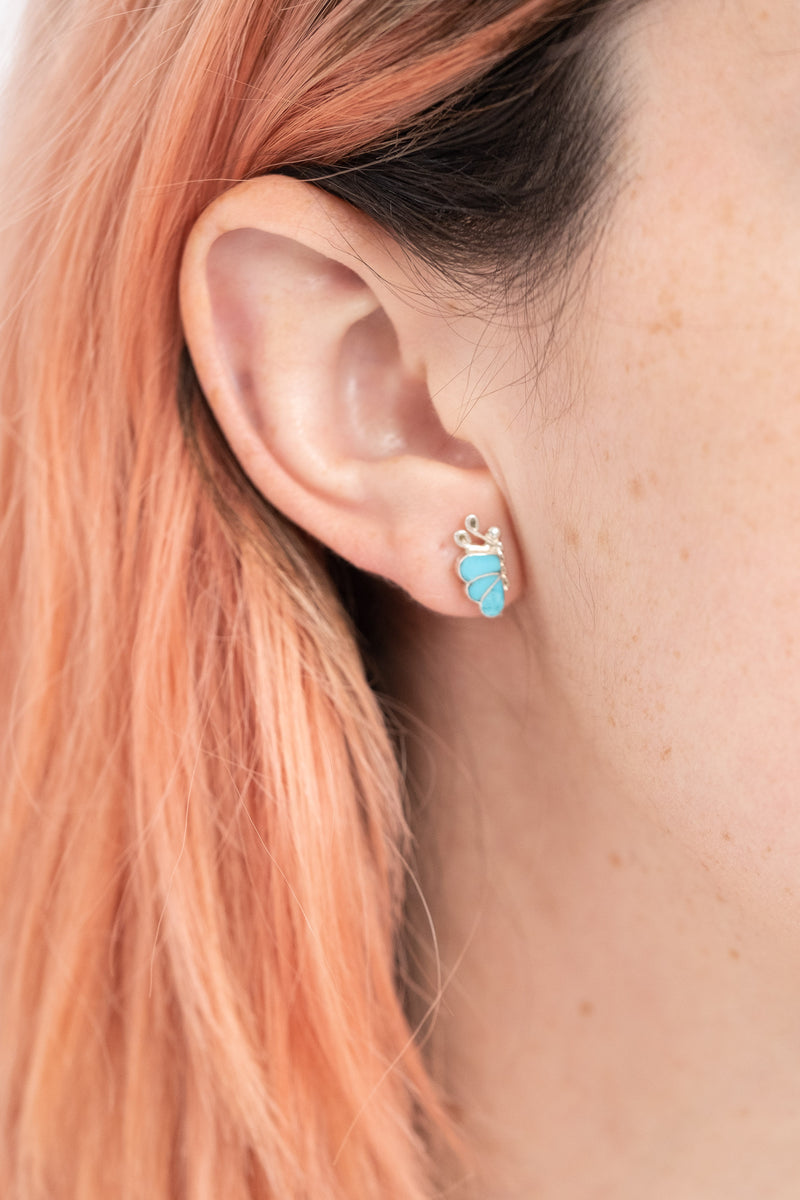 ZUNI SMALL TURQUOISE INLAY BUTTERFLY STUDS