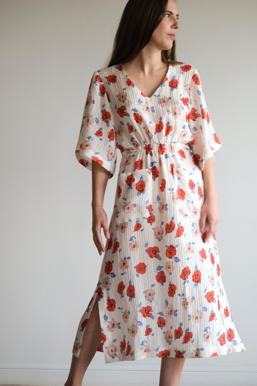 GRACE DRESS IN CREAM LARGE PANSY