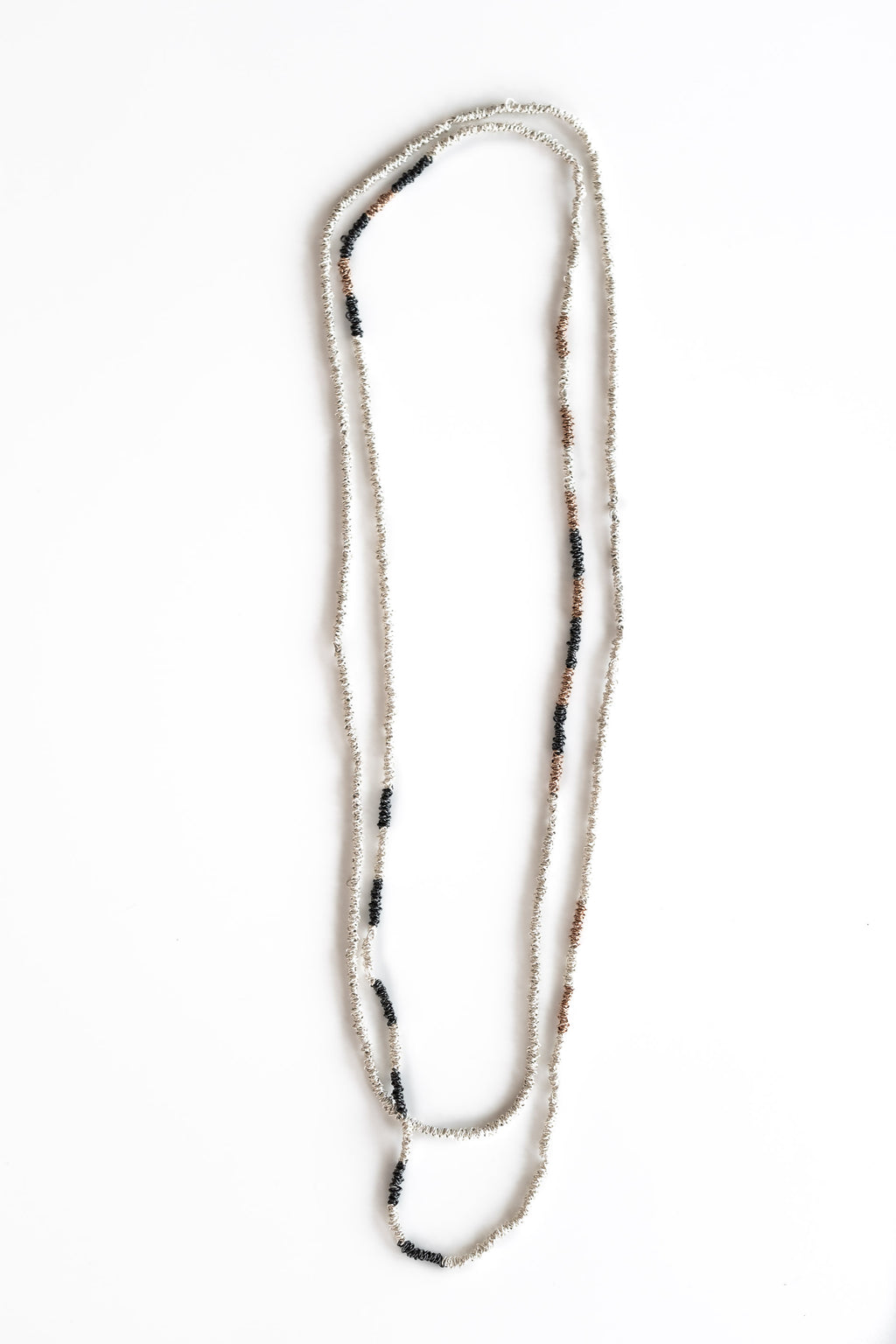 SINGLE STRAND SILVER AND ROSE GOLD PLATED NECKLACE