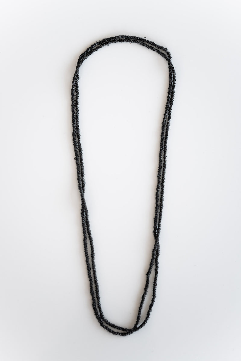 SINGLE STRAND OXIDIZED SILVER NECKLACE
