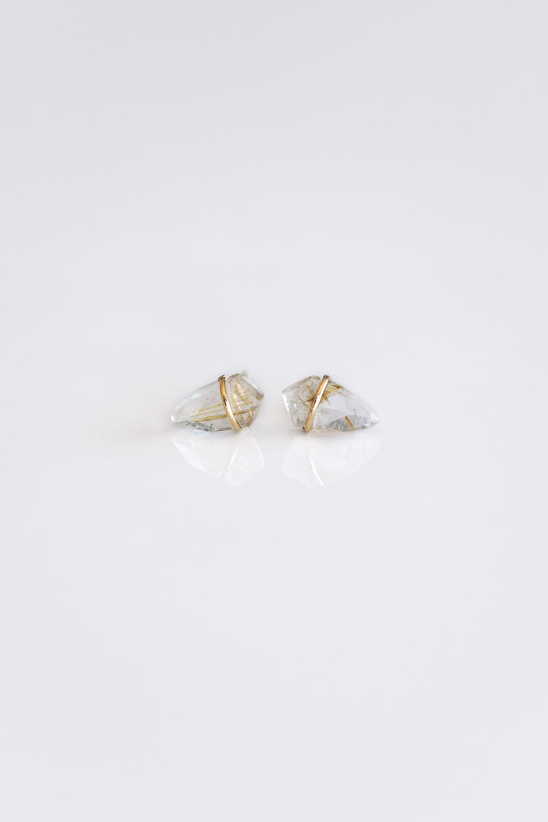 18K SMALL RUTILATED QUARTZ KITE EARRINGS