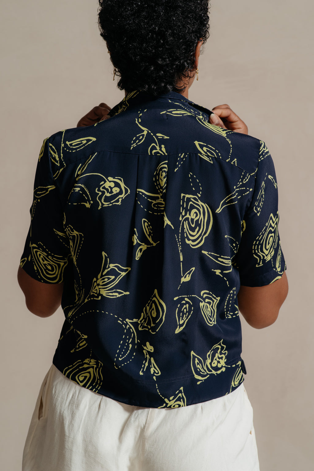 RELIQUARY Navy & Lime Floral Print Blouse