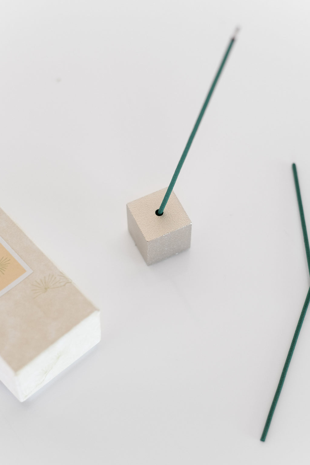 BRASS CUBE INCENSE HOLDER IN SILVER