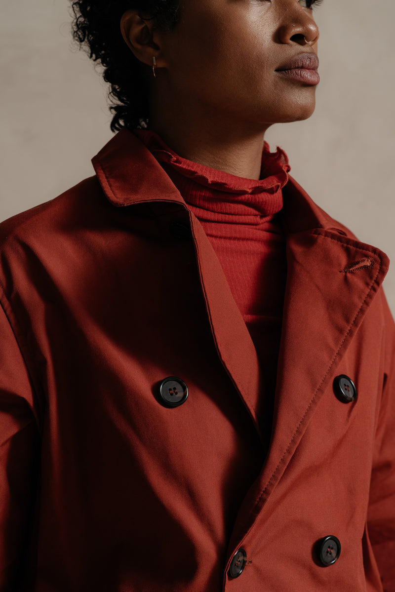 RELIQUARY Red Nylon Trench Coat