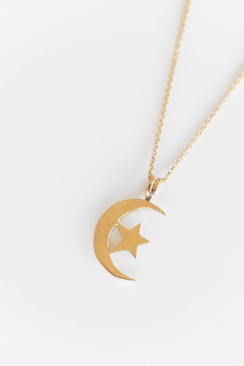 14K MOON AND STAR PENDANT