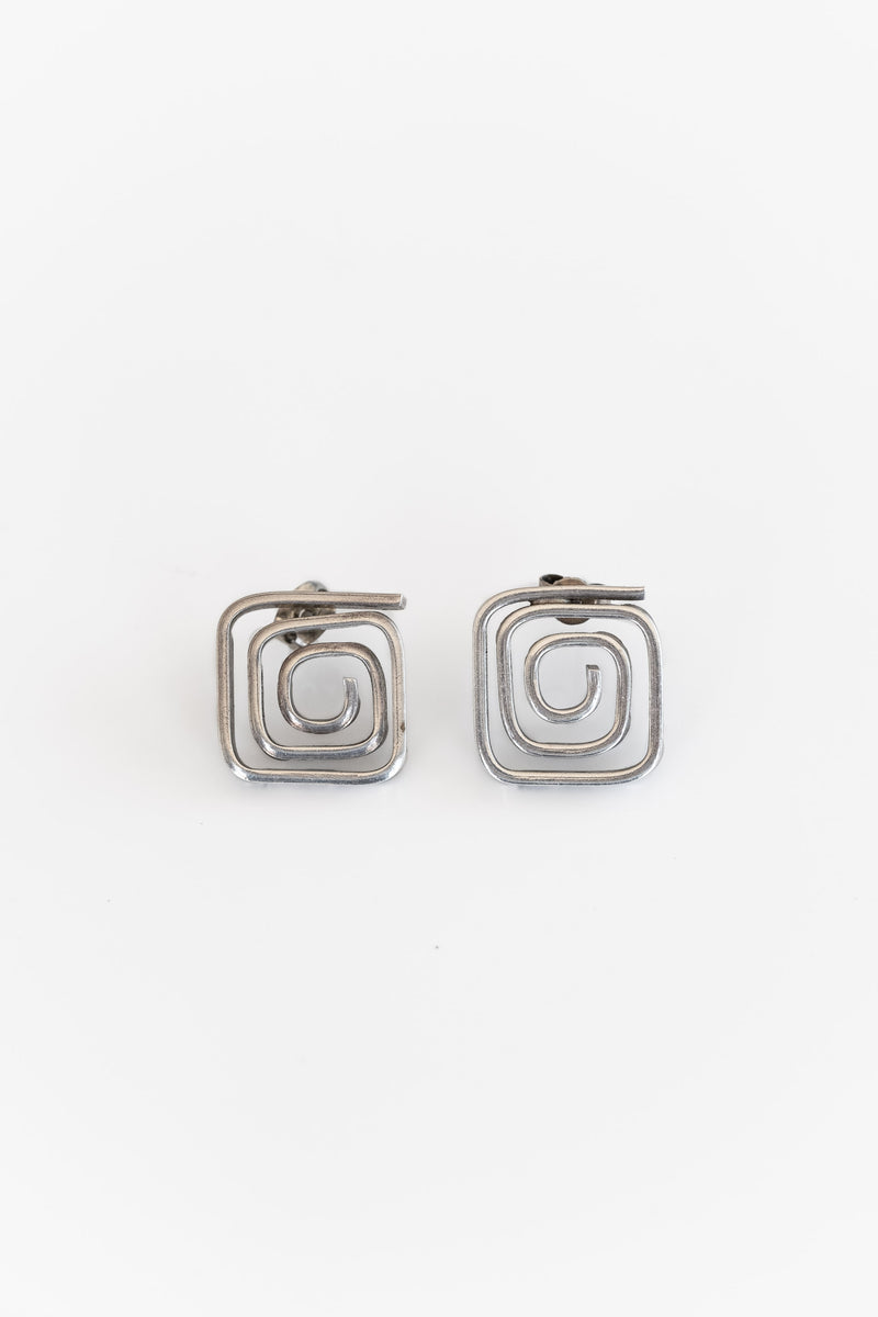 SILVER + BRASS HANGING SQUARE EARRINGS