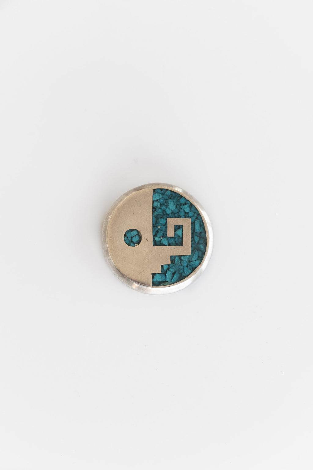 STERLING SILVER + TURQUOISE ABSTRACT YIN YANG PIN