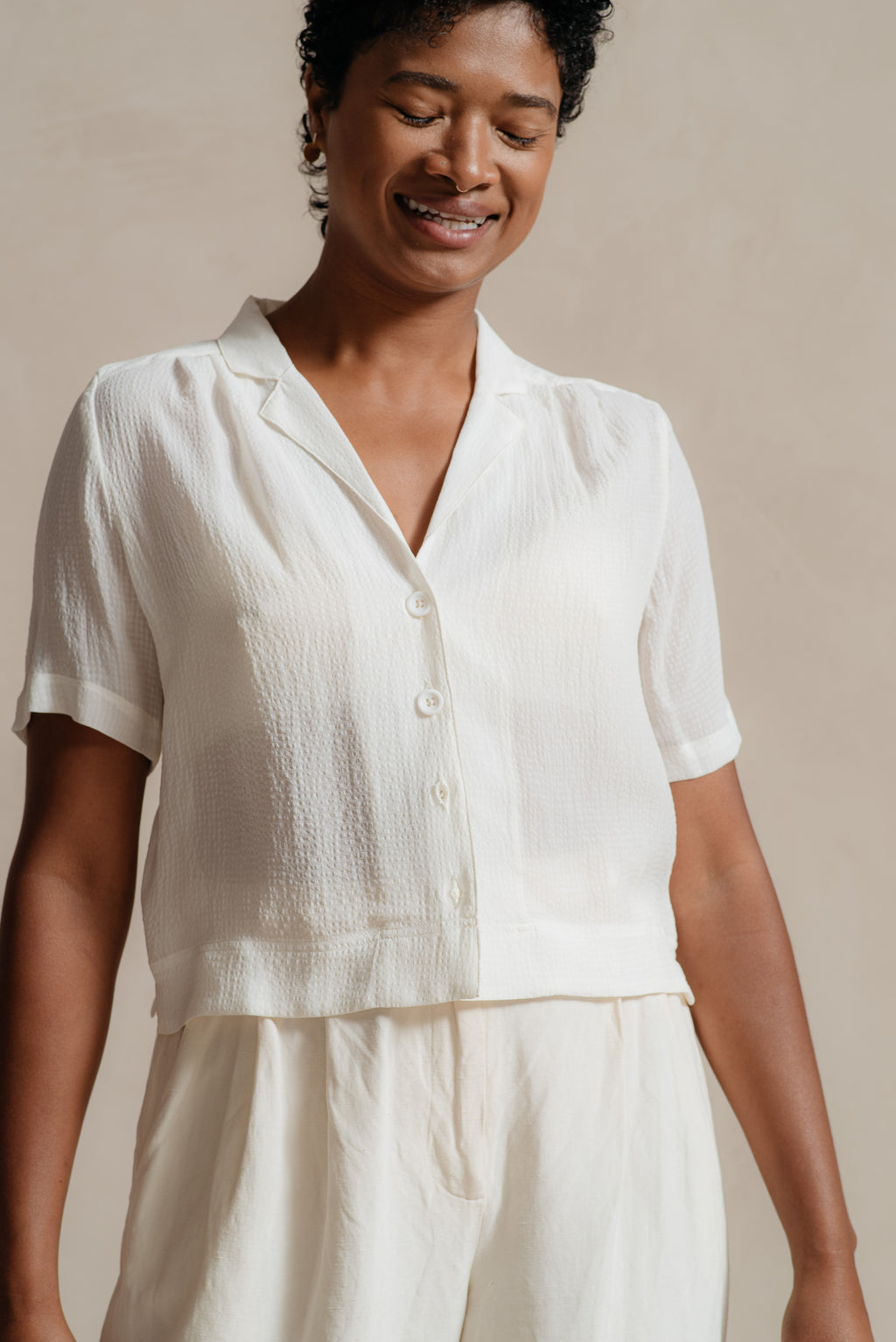 RELIQUARY White Silk Seersucker Short Sleeve Blouse