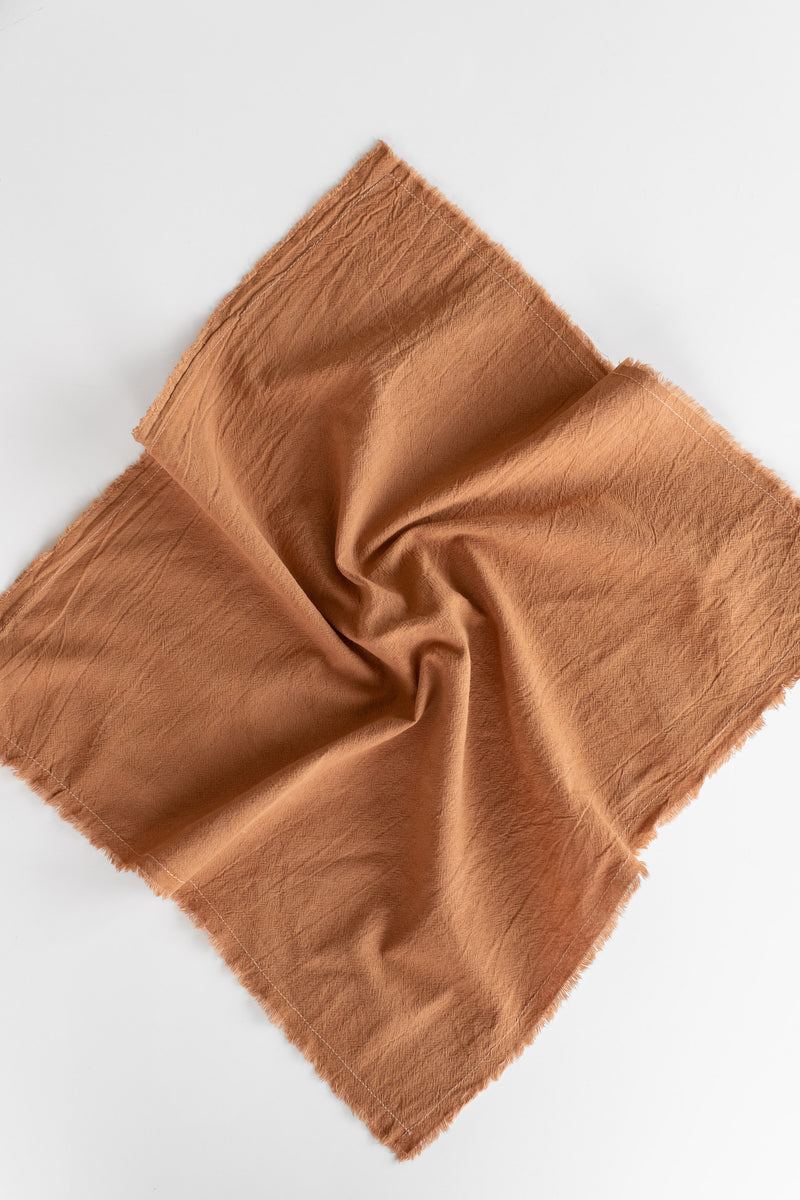 NATURALLY DYED COTTON GAUZE NAPKINS IN RUST