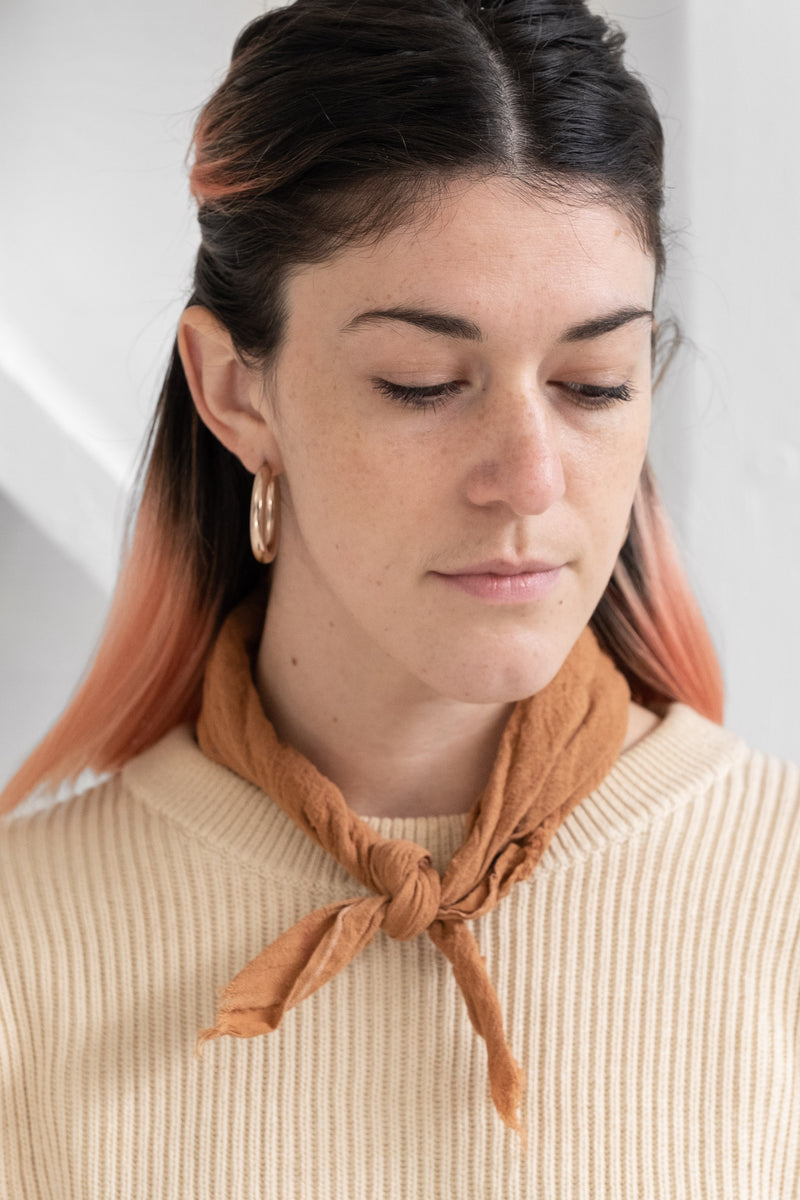 PLANT DYED COTTON GAUZE BANDANA IN RUST