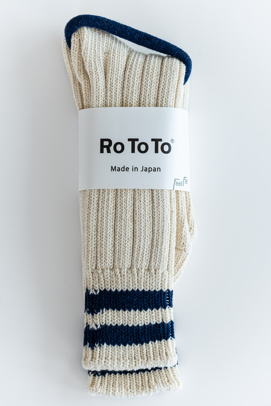 NAVY STRIPE LOW RAW SOCKS