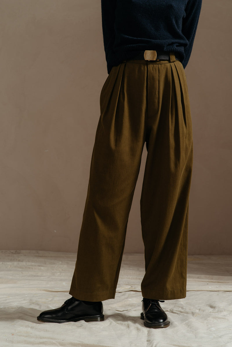 Reliquary-House-Line-OLIVE-PLEATED-PANT-front