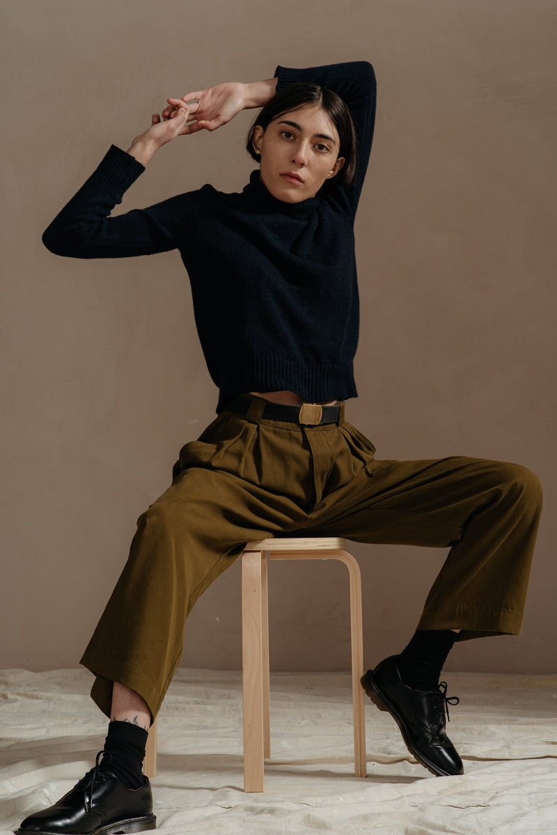 Reliquary-House-Line-OLIVE-PLEATED-PANT-on-model