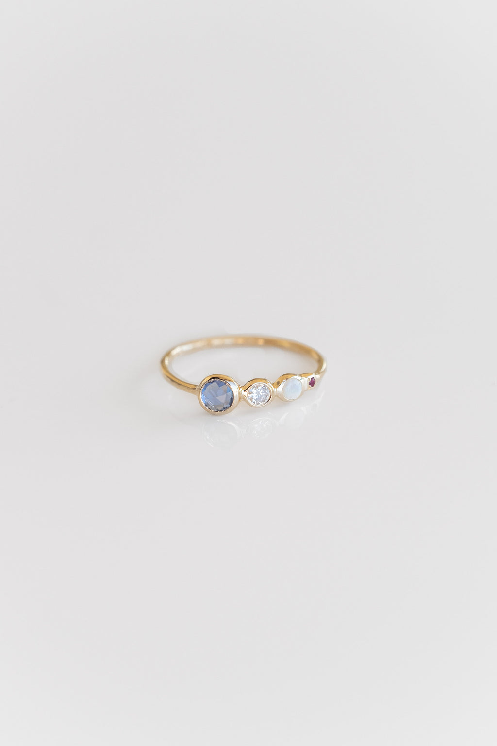 14K JACKIE RING WITH MIXED STONES