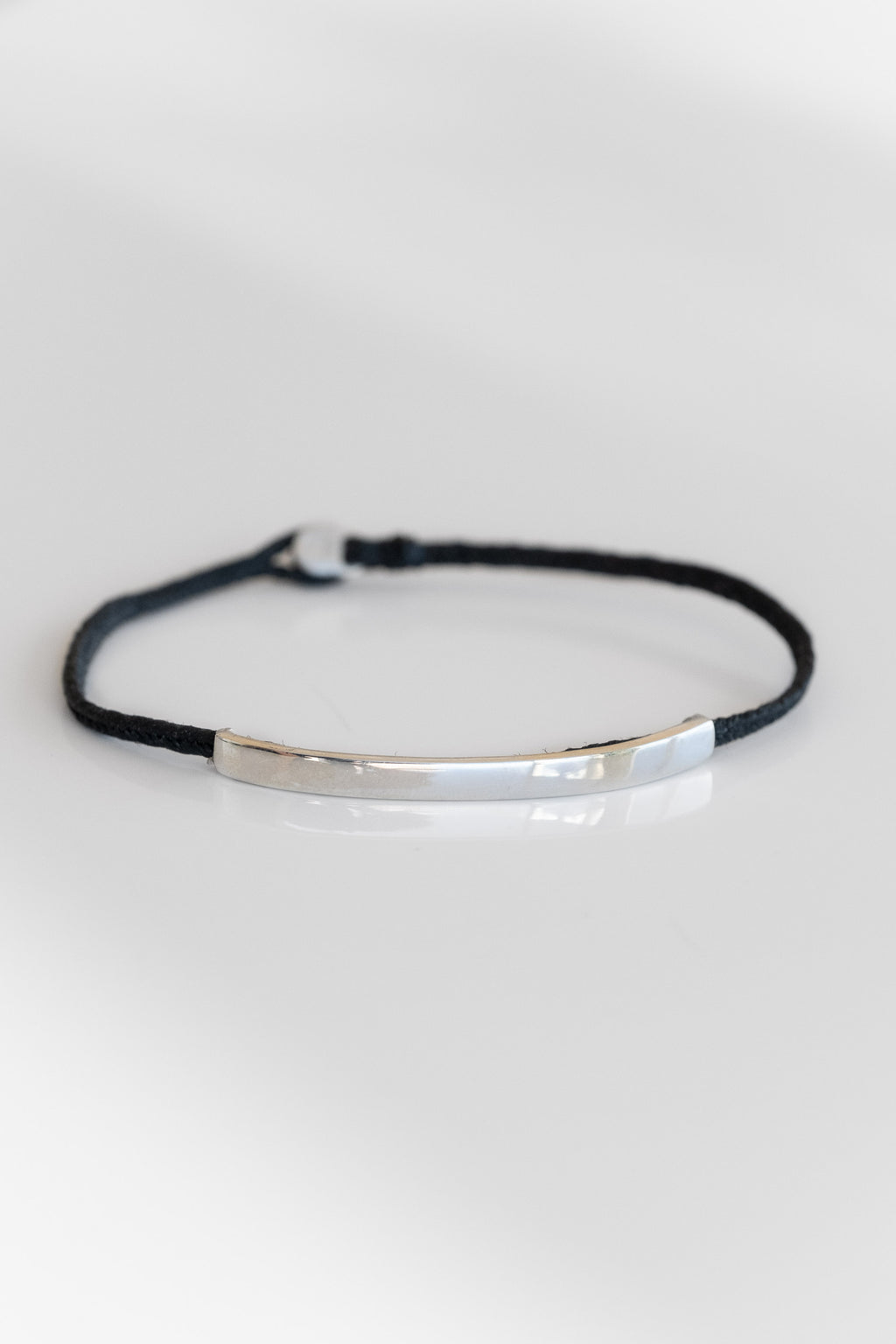 STERLING SILVER BLACK FISHTAIL ID BRACELET