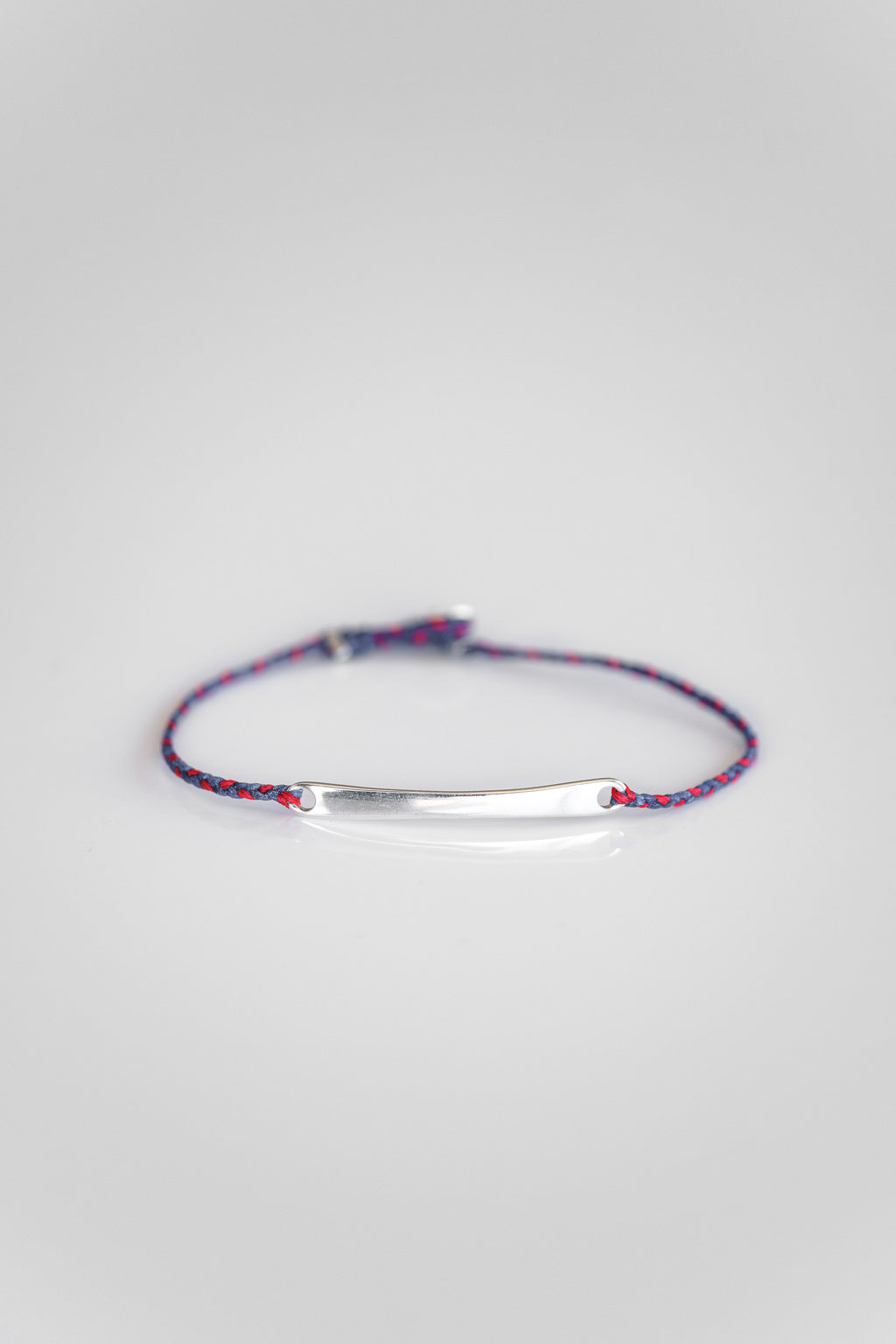 SILVER ID BRACELET IN ROYAL + SCARLET