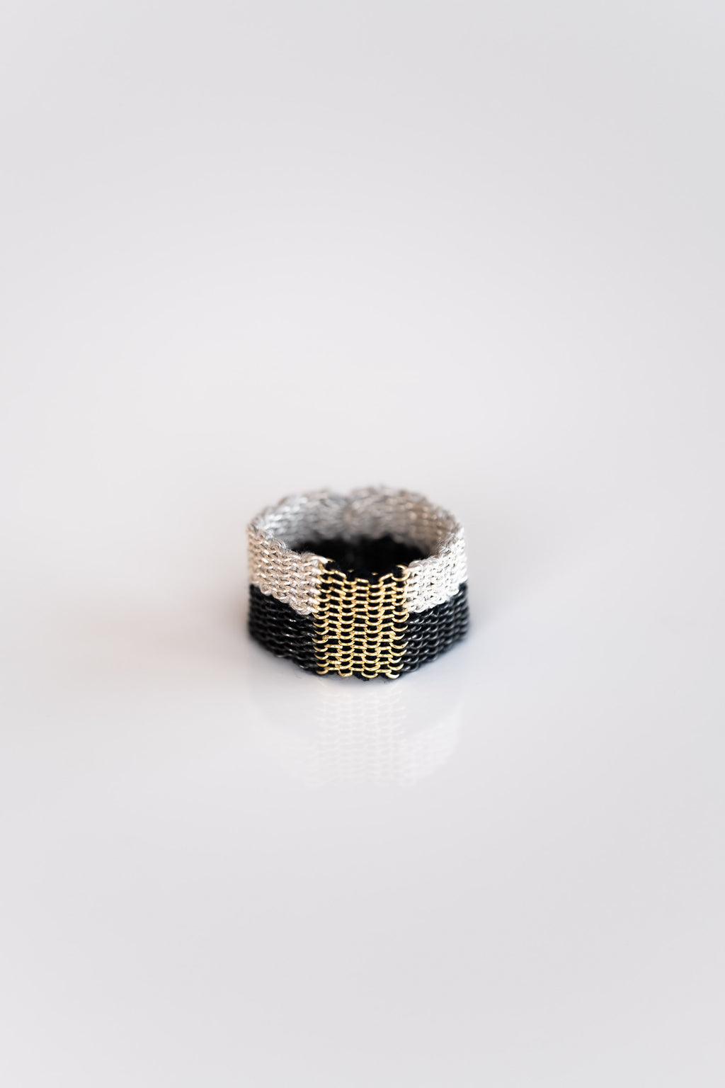WOVEN SILVER, SILK AND GOLD PLATED RING