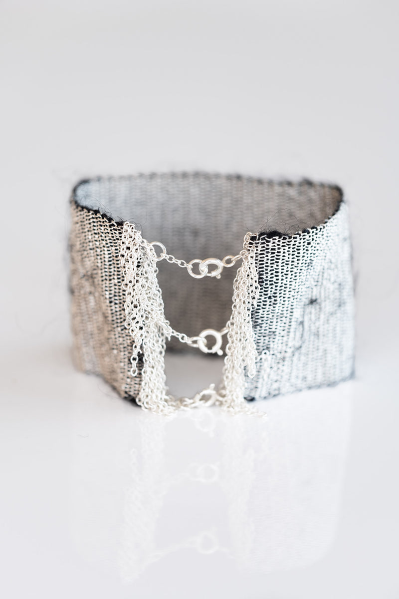 WOVEN SILVER AND MOHAIR BRACELET