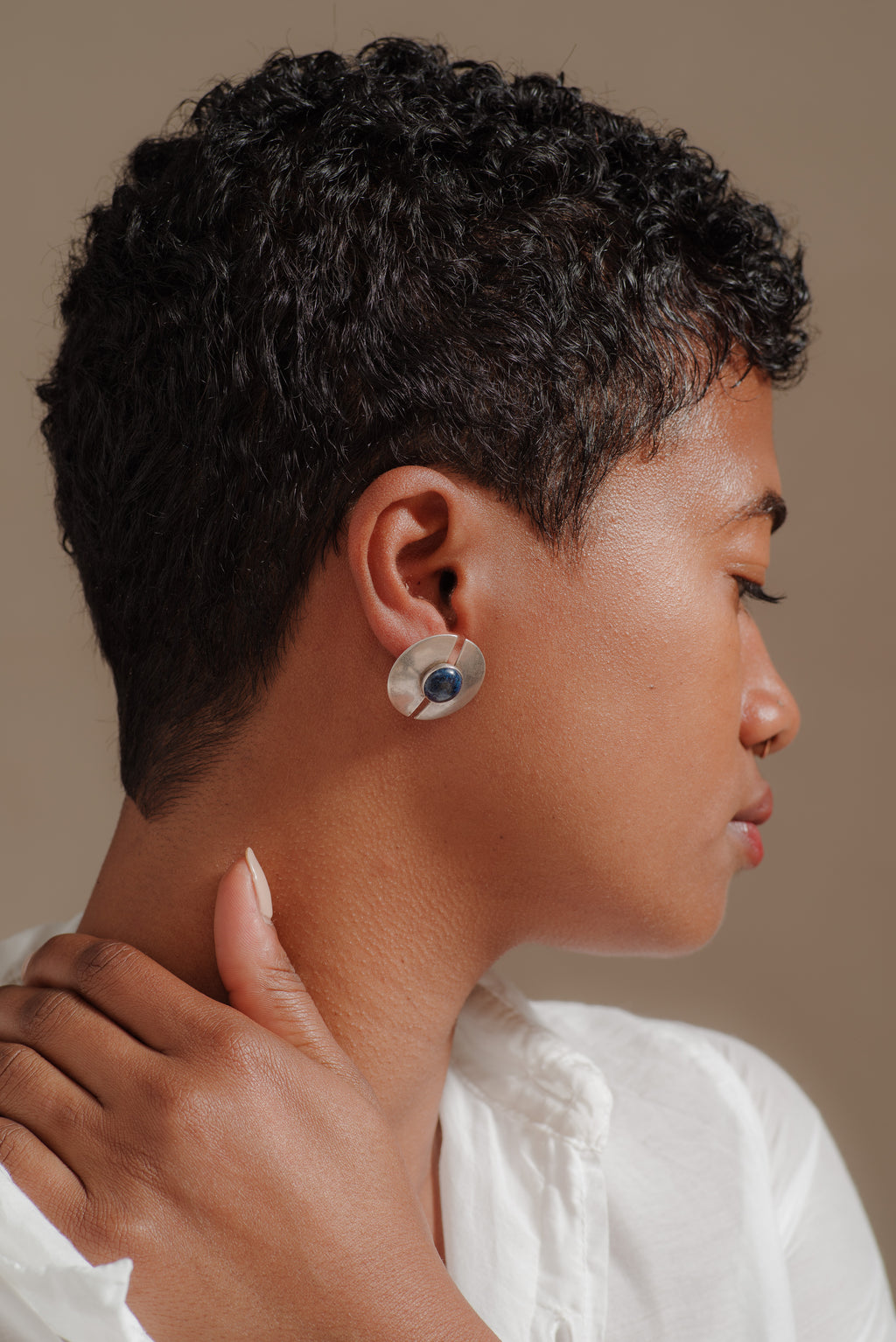 STERLING SILVER + LAPIS DISC EARRINGS