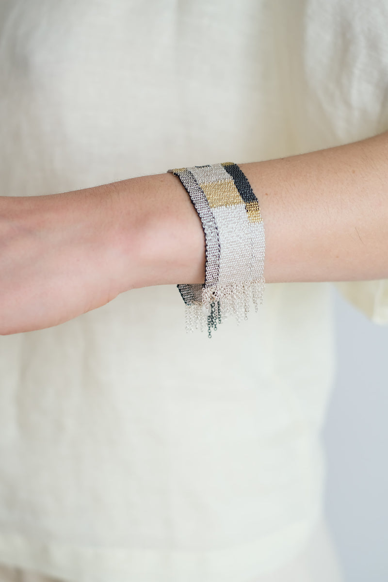 WOVEN SILK, SILVER AND GOLD PLATED BRACELET