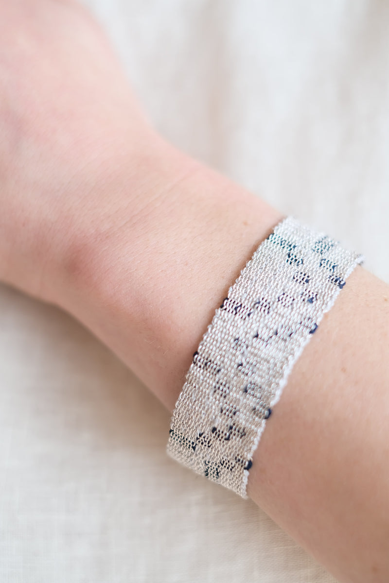 WOVEN SILVER AND SILK BRACELET