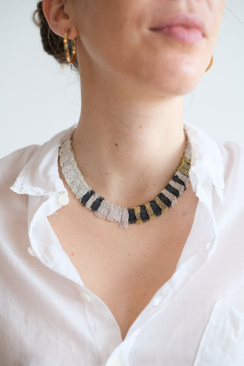 WOVEN SILVER + SILK + GOLD PLATED COLLAR