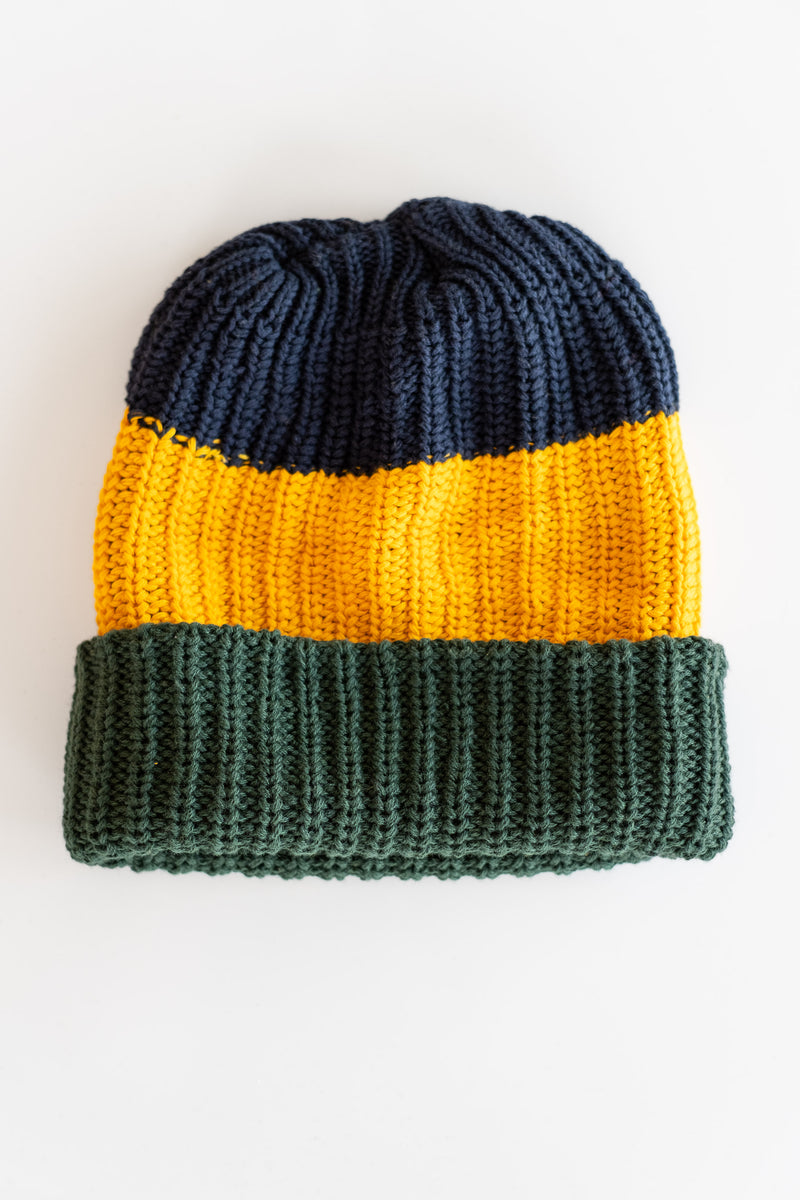 NAVY + GOLD + EVERGREEN KNIT HAT