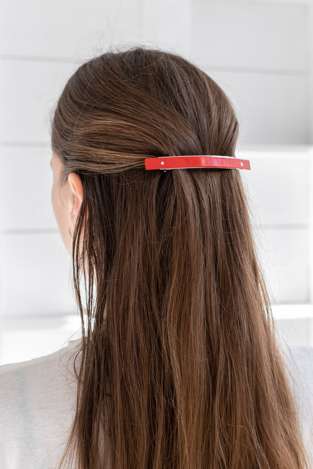 XL BARRETTE SHINY RED