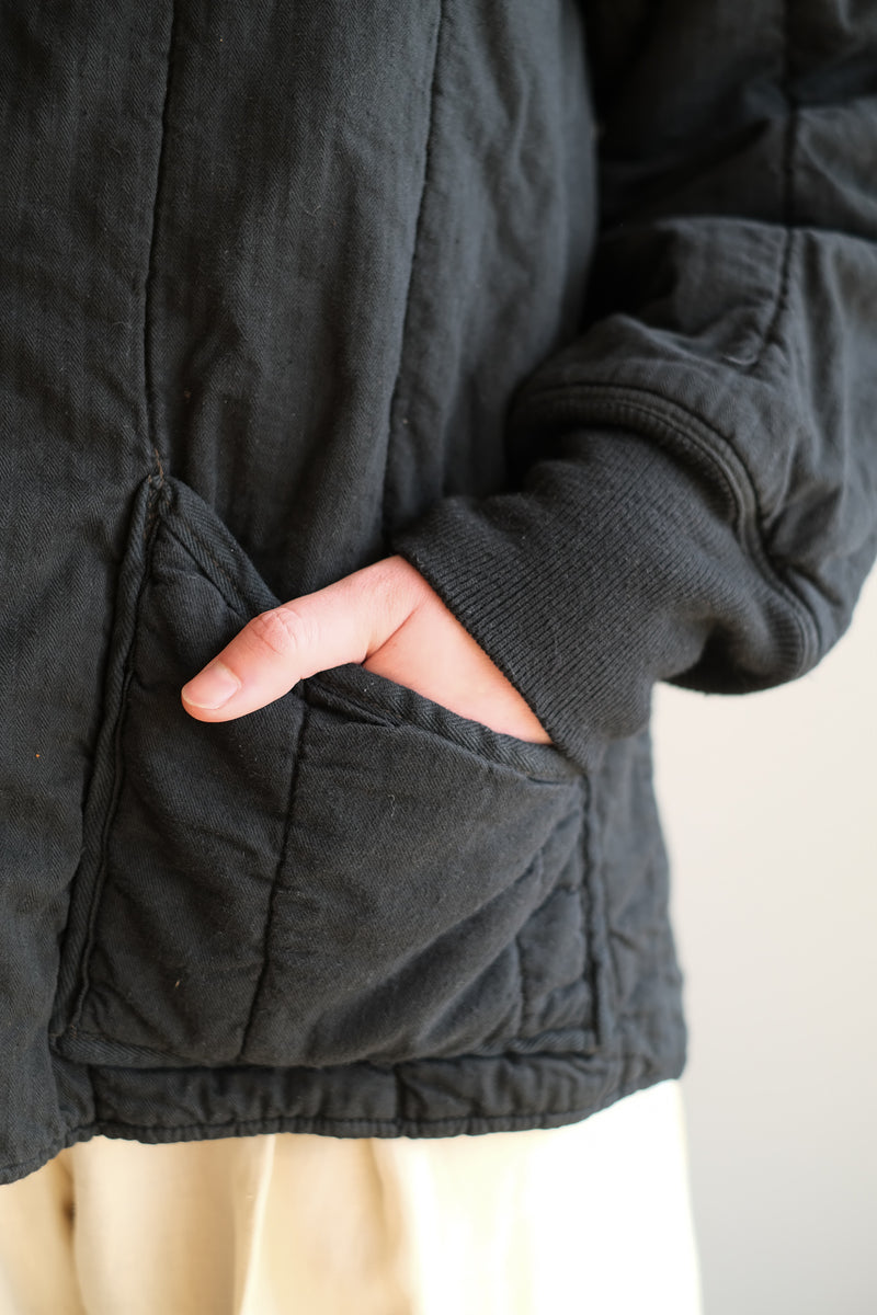 BLACK QUILTED COTTON JACKET